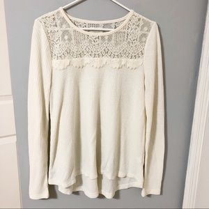 Lucky Brand Cream Tunic with Lace